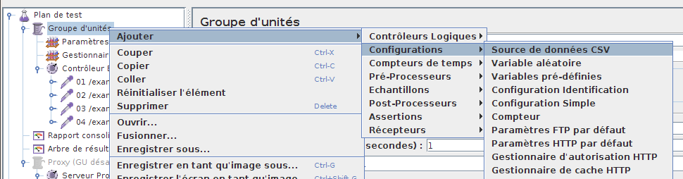 Ajout de l'item CSV Data Set Config