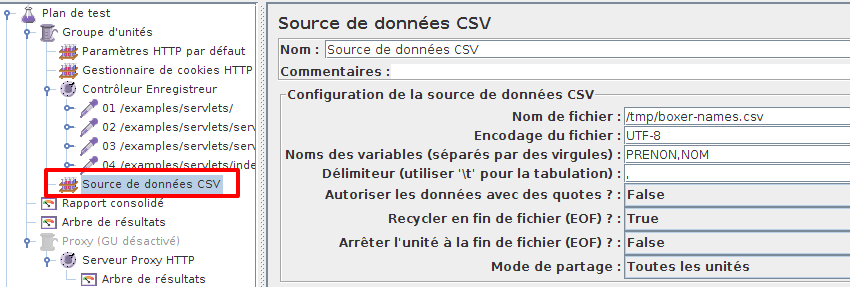 Configuration de l'item CSV Data Set Config