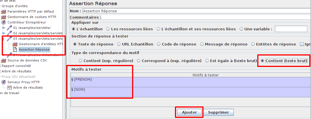 Configuration du test d'assertion