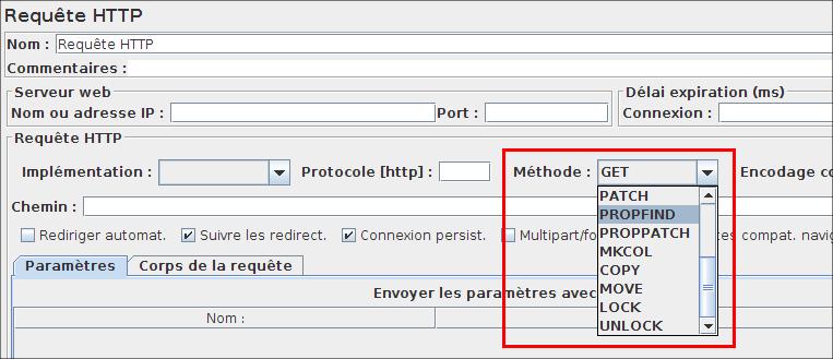 Méthodes WebDav dans la requête HTTP